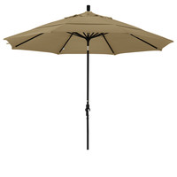 11 Foot Sunbrella 1A Fabric Aluminum Crank Lift Collar Tilt Patio Umbrella with Black Pole