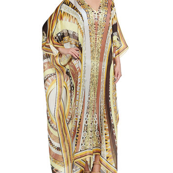 Printed V-Neck Long Caftan Coverup, Yellow Sun, Size: ONE SIZE, 067 YELLOW SUN - Emilio Pucci