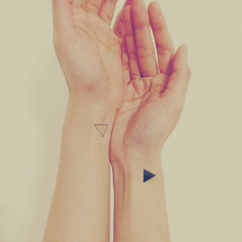 InknArt Temporary Tattoo - 2pcs triangle simple quote tattoo wrist body sticker fake tattoo wedding tattoo small tiny tattoo
