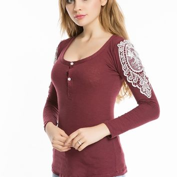 Floral Lace Crochet Sleeve Shirt
