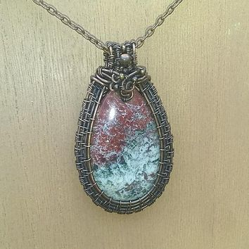 Mexican Lace Agate Wirewrap Necklace