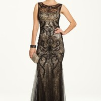 Two-Tone Beaded Mesh and Lace Dress with Godet