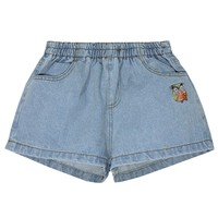 Relaxed Fit Elastic Waist Owl Embroidery Denim Shorts