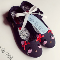 Adorable cat shoes / Cute black canvas kitty mary janes / Kawaii kitten face flats UK Size 4 (EUR 37, US 6)