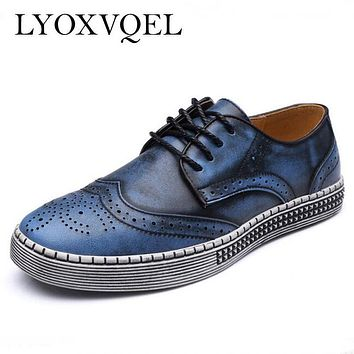 Spring Autumn New Trendy Shoes Quality Genuine Leather Soft Casual Gentleman Brogue Style Men's Shoes 38-48 Large size M116