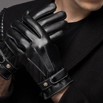 Men's leather gloves, winter warm Gentleman's leather gloves. Outdoor protective gloves.