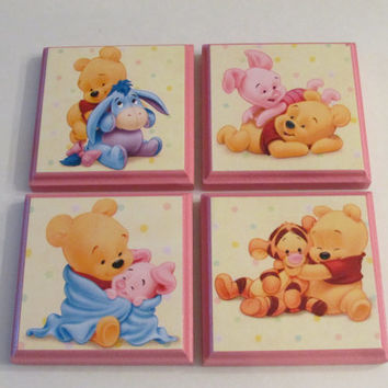 Winnie the Pooh Room Wall Plaques - Set of 4 Pink Winnie the Pooh Nursery Decor - Winnie the Pooh Piglet Tigger Eeyore