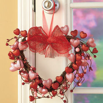 Valentines-Day-Heart-Shaped-Wreath-Love-Red-February-Decorations-Valentine-Wreath-Decor
