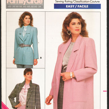 Long Blazer Pattern Retro 80s Blazer Jacket Pattern Family Circle Sewing Pattern Butterick 5759 Bust 40 42 44 Uncut Complete Factory Folds