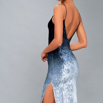 Sunset Skyline Navy Blue Ombre Velvet Midi Dress
