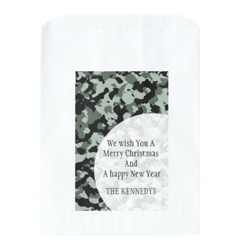 Personalized Family Christmas Green Camouflage Favor Bags