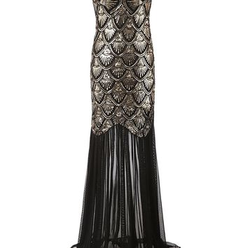 TDHQ 1920s Long Sequins Gatsby Mermaid V-Back Vintage Prom Dresses Evening Party Gown