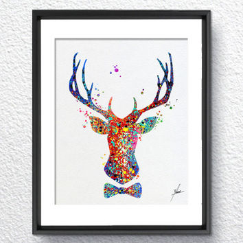 Watercolor Deer Oh my Deer Inspired Wall Decor Watercolor Print Item 030