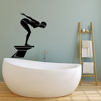 Vinyl Wall Decal Olympic Swimmer Water Sports Swimming Pool Stickers (3142ig)