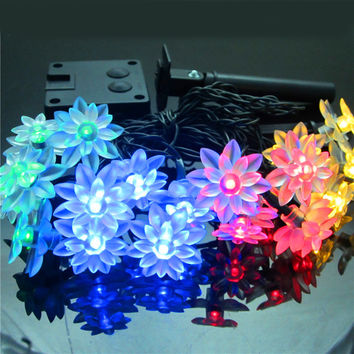 WaterLily Flower Solar string Lights 5M 20 LED Christmas Light Outdoor Garden Home Wedding Party White Warm white RGB
