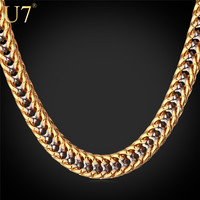 "U7 Two Tone Gold Chain For Men Jewelry With ""18K"" Stamp Gold Plated Fashion Jewelry Trendy 55 CM Franco Chain Men Necklace N437"
