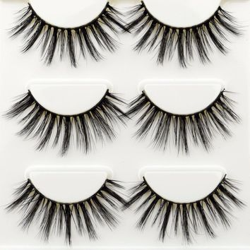 3 Pairs False Eyelashes Makeup 3D Eye Lashes Eyelash Extension Make Up Beauty Wispy Mink Eyelashes Faux Cils Maquiagem Cilios