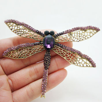 Exquisite Purple Dragonfly Brooch Pin Rhinestone Crystal Party Jewelry