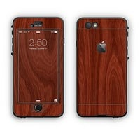 The Red Mahogany Wood Apple iPhone 6 Plus LifeProof Nuud Case Skin Set