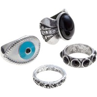 4 silver and black eye rings
