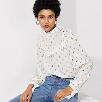 Womens Tops  Long Sleeve Stand Collar Ruffle And Cuff Gold Dot Print Top