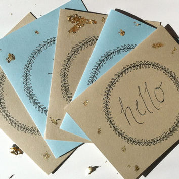 Hello Wreath, Blank Greeting Card, Thinking of You Card, 2 Color Option w/ Gold Leaf #greeting #snailmail