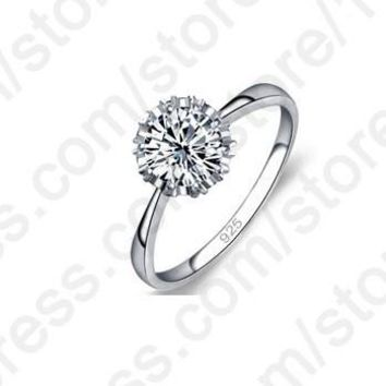JEXXI High Quality 925 Sterling Silver Jewelry Classic Engagement Ring 4 Size AAA  CZ Crystal  Ring Jewelry Free Shipping