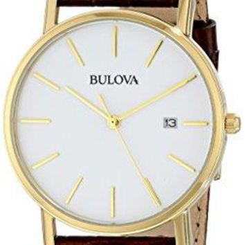 Bulova Mens 97B100 Brown Leather Quartz Watch