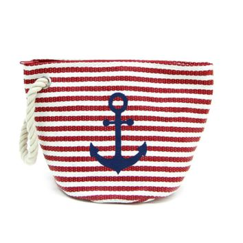 Striped Anchor Pouch with Rope Trim