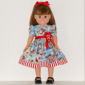 American Girl Doll Christmas Blue Dress with Snowmen & Red Stripes