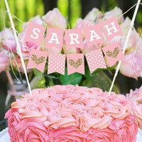 Personalized Blush Bunting Cake Topper
