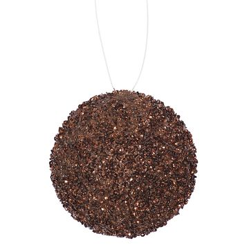 "3ct Chocolate Brown Sequin and Glitter Drenched Christmas Ball Ornaments 4.75"" (120mm)"
