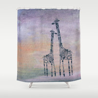 giraffes Shower Curtain by Marianna Tankelevich