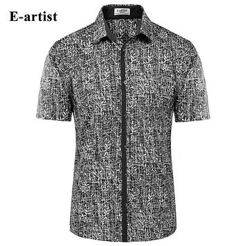 Men's Slim Fit Casual Short Sleeve Dress Shirts Male Bamboo Pattern Double Mercerized Cotton Tops