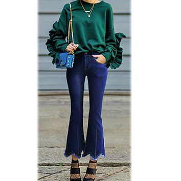 High Waist Solid Color Bell-bottomed 9/10 Length Irregular Jeans