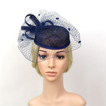 Fascinator  Bowler Hat Women Bridal Headwear Vintage Party Hats Net Yarn Feather Headdress 2210