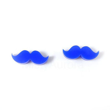 Mustache Earrings - Moustache Earrings - Blue Mustache Posts - Movember Awareness - Free Shipping