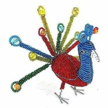 Handmade Colorful Beaded Peacock - South Africa