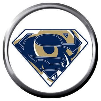 NFL Superbowl LA Rams Superman Football Fan Logo 18MM-20MM Snap Jewelry Charm New Item
