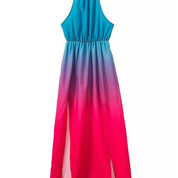 Gradient Color Halter Sleeveless Shirtwaist A-line Slit Maxi Dress