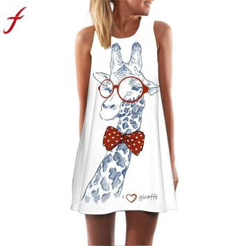 908f1b0c81a0 Feitong 2019 Hot Sale Casual Dress Women's Loose Summer Sleeveless Giraffe Print  Tank Short Mini Dress