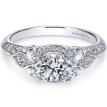 "Gabriel ""Abel"" Round Halo Vintage Diamond Engagement Ring"