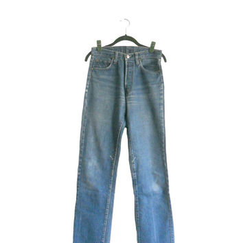 Vintage Levis Denim Jeans 501 Early 1980s Women's Button Fly Straight Leg High Waist Style - Medium Light Wash - 29 Waist 38 Length TALL