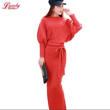 Long Sleeve Maxi Dress Knitted 2017 Autumn Winter High Waist Sweater Dress 2 Piece Set Clothing Red Black Red Ladies Dresses