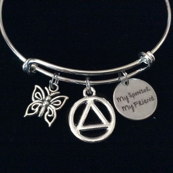 My Sponsor My Friend AA Recovery Expandable Charm Bracelet Adjustable Bangle Alcoholics Anonymous Butterfly Inspirational Meaningful