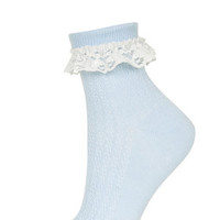 Lace Trim Ankle Socks - Pale Blue
