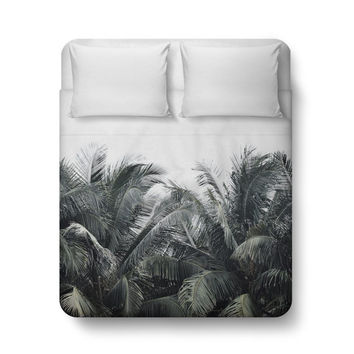 Cozumel Palms - Duvet Cover, Beach Tropical Green Palm Trees Duvet, Surf Style Bedroom Decor Bed Blanket Throw Cover in Twin Full Queen King