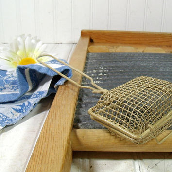 Vintage Metal Mesh Laundry Soap Holder - Retro Detergent Dispenser - Cottage Chic Farm House Accessory