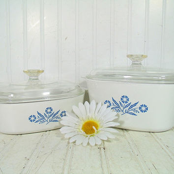 Vintage CorningWare Large Casseroles Set of 2 with Pyrex Clear Glass Lids - Retro Blue CornFlower Pattern Two & Three Quart Bowls Collection