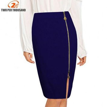 VONE05F8 S-4XL Plus Size Sexy Multi Color Black Zipper Midi Pencil Skirt Women 2018 Fashion High Waist Office Lady Bodycon Skirts Saias